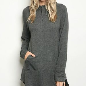 Charcoal Grey Lightweight Long Sleeve Yoga Hoodie